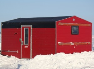 Heated Ice Fishing House on Leech Lake, MN at Adventure North Resort