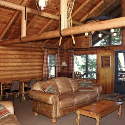 The Living Room at Cedars Log Cabin has enough space for your whole Family Reunion!