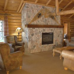 cedars log home living room- on leech lake